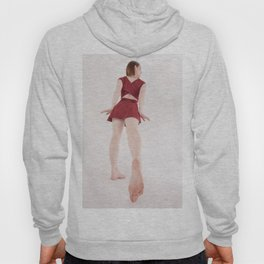 1185s-MM Barefoot Megan in a Little Red Dress High Key Art Photograph Hoody