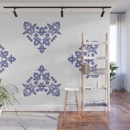 'Love 04' - Heart of lace in blue Wall Mural