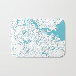 Amsterdam White on Turquoise Street Map Bath Mat