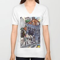 portugal V-neck T-shirts featuring Buarcos, Portugal by Claire Nelson-Esch