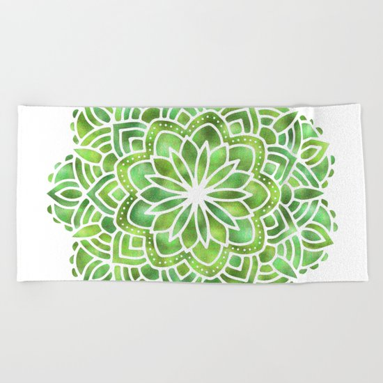 Mandala Green Leaves Beach Towel