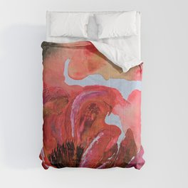 Golden Gloomy Garden Flower Comforters