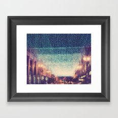 Starry Night. downtown Los Angeles at night photograph Framed Art Print