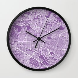 Guadalajara map lilac Wall Clock