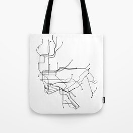New York City White Subway Map Tote Bag