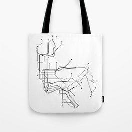 New York City White Subway Map Tote Bag
