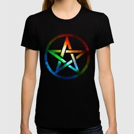 Galaxy Pentagram Pentacle Design - Spiritual Space Artwork T-shirt