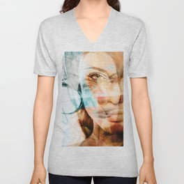 faces of Angelina Jolie Unisex V-Neck