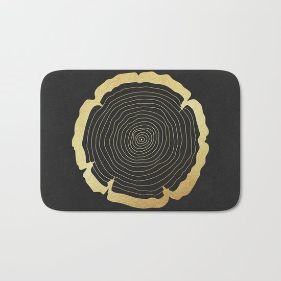 Metallic Gold Tree Ring on Black Bath Mat