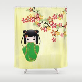 Sakura Kokeshi Doll Shower Curtain
