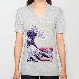 The Great wave purple fuchsia Unisex V-Neck