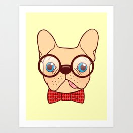 Preppy Frenchie is ready for school with his new bow tie Art Print