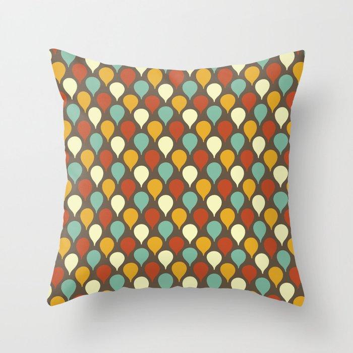 Raindrops Mid Century Modern Throw Pillow