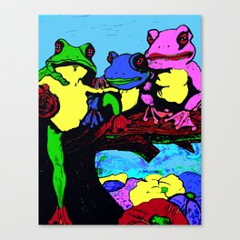 FROG FAMILY HANGING OUT ON A LIMB Canvas Print
