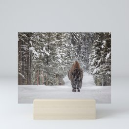 Bison Moving Through Snowy Landscape Mini Art Print