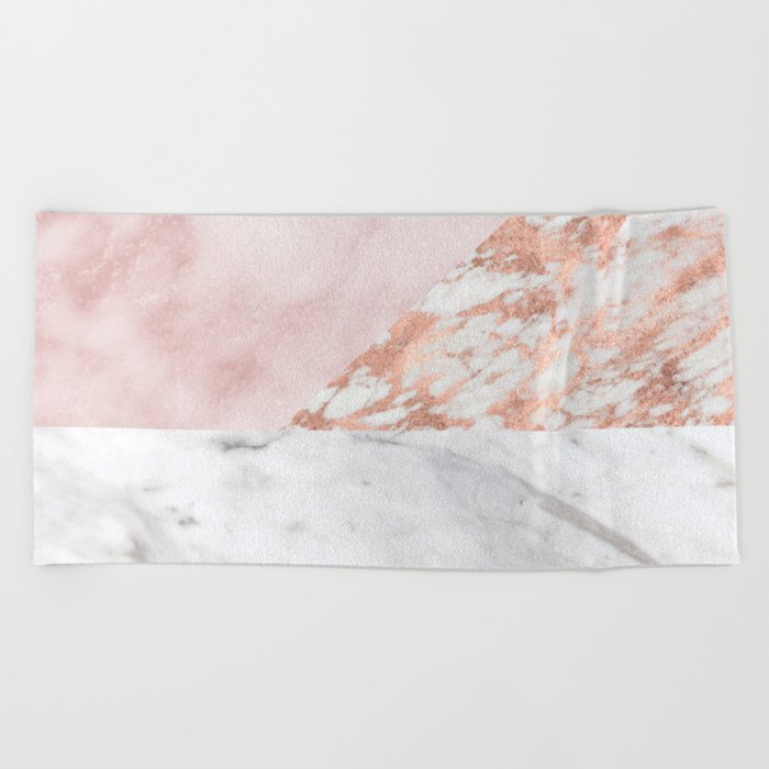 Mixed pinks rose gold marble Beach Towel