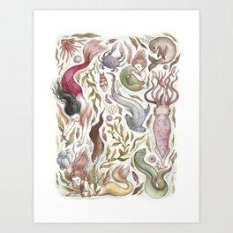 Mermaids and Sea Creatures Art Print
