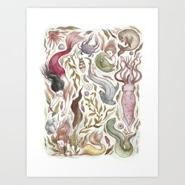 Mermaids and Sea Creatures Art Print