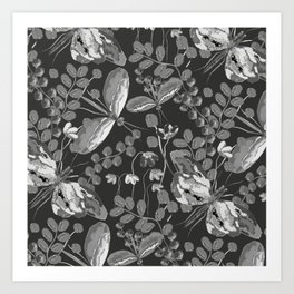 Butterfly in flowers//Butterfly black and white//Butterfly in watercolor Art Print