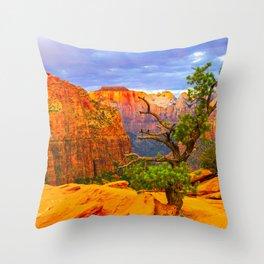 Zion National Park Canyon Overlook Print Throw Pillow
