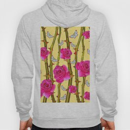 WHITE BUTTERFLIES & CERISE PINK ROSE THORN CANES YELLOW Hoody