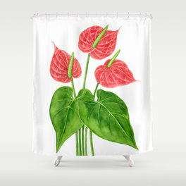 Flamingo flower watercolor Shower Curtain
