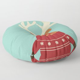 Rudolph Red Nosed Reindeer in Ugly Christmas Sweaters Floor Pillow