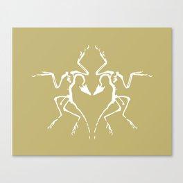 Dinosaur Fossil Ink Blot 2, Mustard Canvas Print