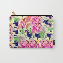 Abstract Pink Floral With a Cat Carry-All Pouch
