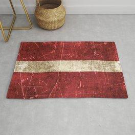 Vintage Aged and Scratched Latvian Flag Rug