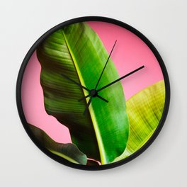 Banana Palm on Pink Wall Clock