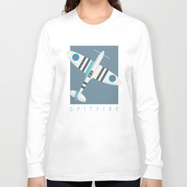 Spitfire WWII Fighter Aircraft - Stripe Slate Long Sleeve T-shirt