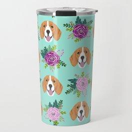 Beagles pattern floral dog breed beagle art pet portrait pet friendly dog art Travel Mug