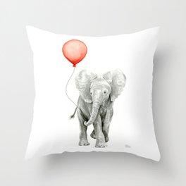 Baby Elephant Watercolor Red Balloon Nursery Decor Throw Pillow