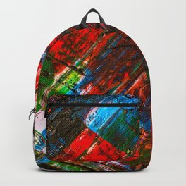 Abstract Tartan Claw Design Painting - Acrylic Paint on Canvas Backpack