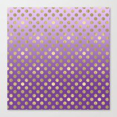 Purple Ombre Gold Dots Canvas Print