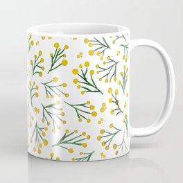 Watercolor winter flowers - yellow and green Coffee Mug