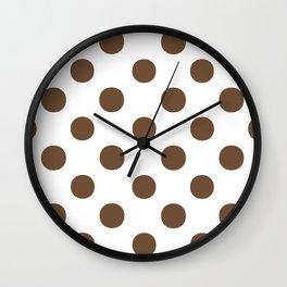 Polka Dots (Coffee/White) Wall Clock