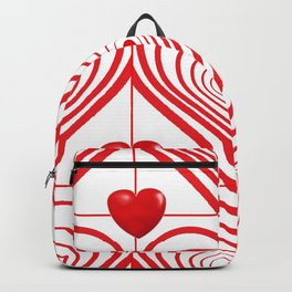 ABSTRACT PATTERN OF RED-WHITE VALENTINE HEARTS Backpack