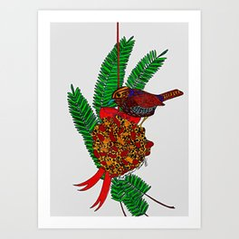 Little Bird In Evergreen Boughs Art Print