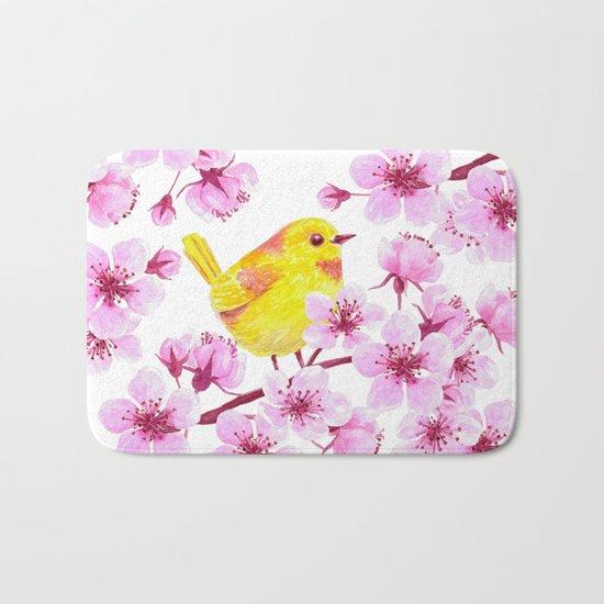 Cherry blossom and yellow bird Bath Mat