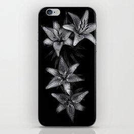 Backyard Flowers In Black And White 7 iPhone Skin