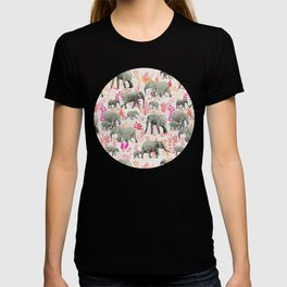Sweet Elephants in Pink, Orange and Cream T-shirt
