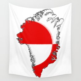 Greenland Map with Flag Wall Tapestry