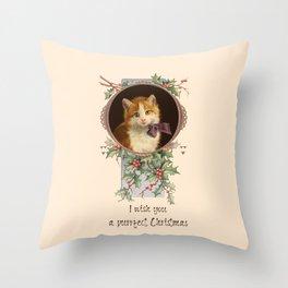 PURRFECT CHRISTMAS greeting card Throw Pillow