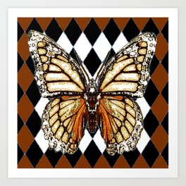 BLACK HARLEQUIN PATTERNED BROWN-WHITE  BUTTERFLY Art Print