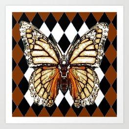 BLACK HARLEQUIN PATTERNED BROWN-WHITE  BUTTERFLY Art Print