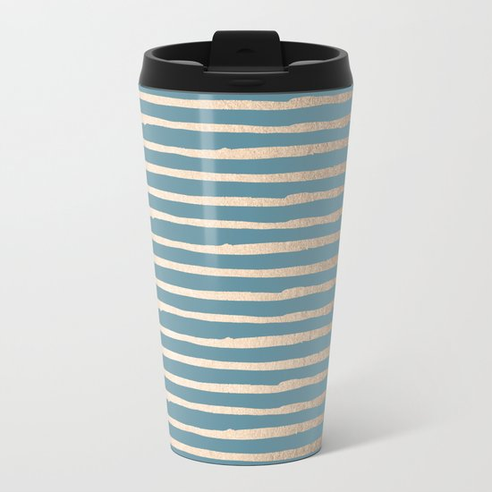 Abstract Stripes Gold Tropical Ocean Blue Metal Travel Mug