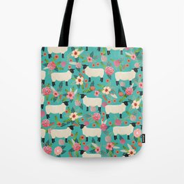 Suffolk Sheep farm floral cute animals sheep lover nature florals pattern homestead gifts Tote Bag