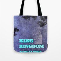 lebron Tote Bags featuring King James by xyzdsn